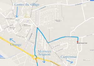 How to get to the gite from the village centre.