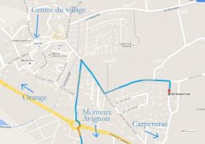 Trajet-village-Loriol-du-Comtat-au-Gite